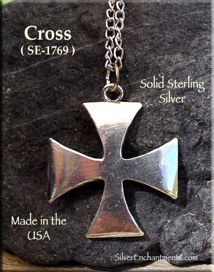 Sterling Silver Iron Cross Pendant Maltese Crusader Cross