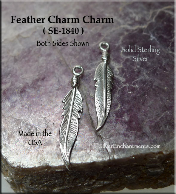 Sterling Silver Feather Charm 23mm