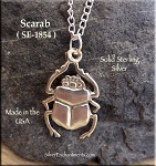 Sterling Silver Scarab Pendant, Egyptian Beetle Necklace