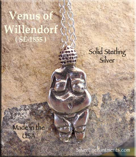 Venus Of Willendorf Pendant Necklace Sterling Silver