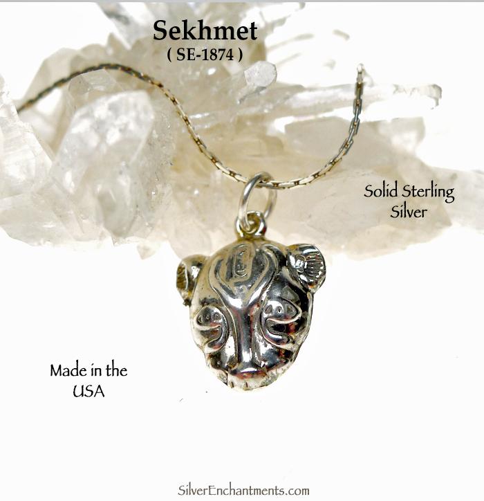 Sterling Silver Sekhmet Necklace Bast Charm Egyptian Cat Earrings Enchantments
