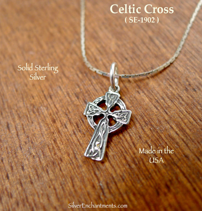 c0954ddc2 Sterling Silver Celtic Cross Charm, Traditional Celtic Cross Necklace -  Silver Enchantments