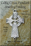 Sterling Silver Celtic Cross Jewelry Connector Finding Dangler or Jewelry Link