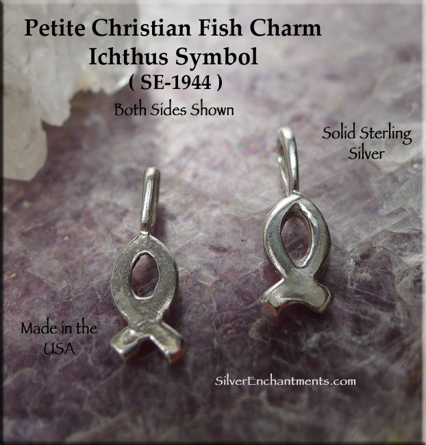 Sterling Silver Christian Fish Charm Small Ichthus Charm