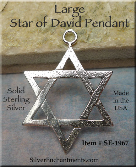 Sterling silver large star of david pendant 39x28mm magen star jewelry copyright 2002 2018 silver enchantments llc all rights reserved aloadofball Image collections