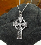 Sterling Silver Celtic Cross Pendant with Knotwork, Celtic Cross Necklace