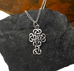 Sterling Silver Celtic Cross Pendant, Knotty Celtic Cross