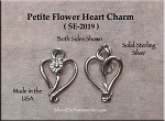 Sterling Silver Small Flower Button Heart Charm, Heart Jewelry