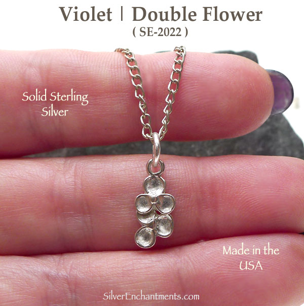 Sterling Silver Double Violet Charm Flower Jewelry