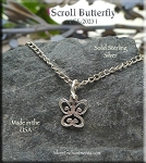 Sterling Silver Butterfly Charm, Small Scroll Butterfly Jewelry