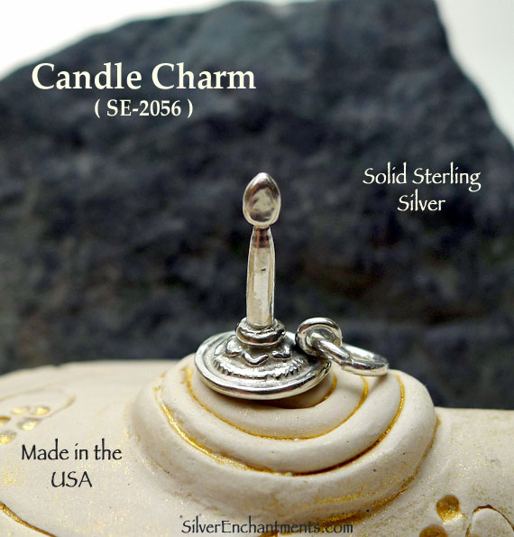 Candle Charm, Sterling Silver 3D Candlestick Jewelry