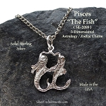 Sterling Silver Pisces Charm, Astrology Zodiac Necklace