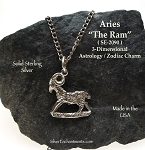 Sterling Silver Aries Charm, Aries The Ram Astrology Zodiac Jewelry