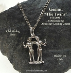 Sterling Silver Gemini Charm, Gemini Zodiac Astrology Jewelry, The Twins