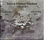 Sterling Silver Pegasus Pendant, .925 Silver Bailed Flying Pegasus Jewelry