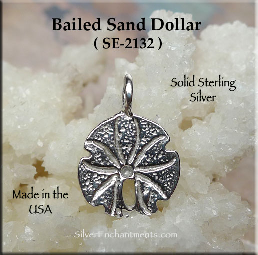 Sterling Silver Bailed Sand Dollar Charm, Sand Dollar Jewelry