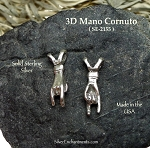 Sterling Silver Mano Cornuto Charm, 3D Evil Eye Italian Witchcraft Jewelry