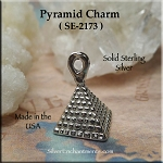 Sterling Silver Pyramid Charm-Pendant, Egyptian Pyramid Necklace