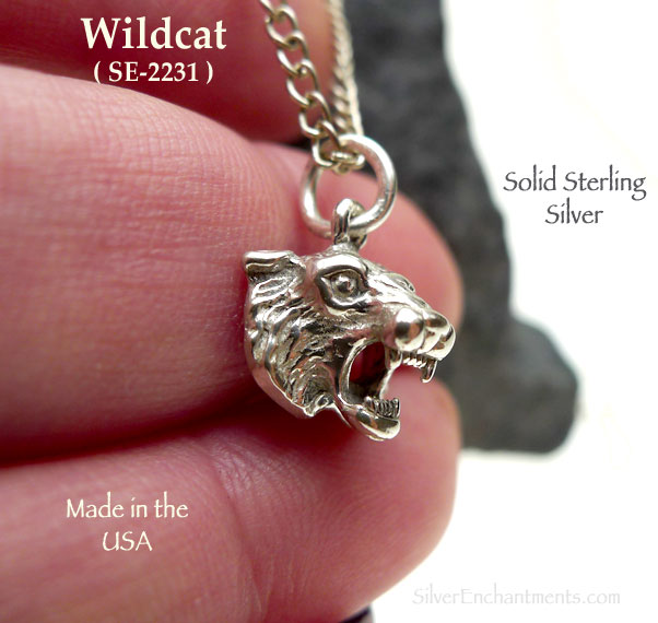 Sterling Silver Wildcat Charm Wild Cat Jewelry