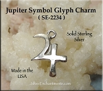 Sterling Silver Jupiter Charm, Astrological Planet Glyph Symbol