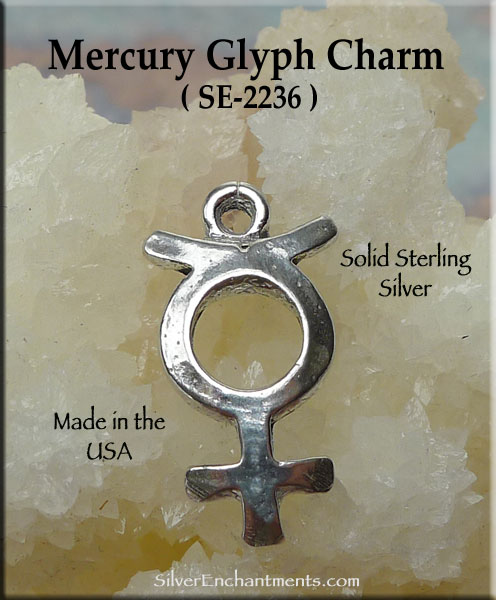 Sterling Silver Mercury Charm Mercury Planet Necklace