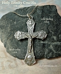 Sterling Silver Holy Trinity Crucifix Pendant, Crucifix Necklace, Catholic Rosary Pendant