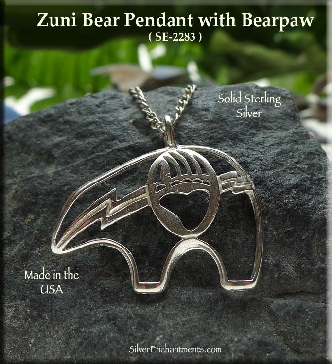 Sterling silver bear pendant with bearpaw native american totem aloadofball Gallery