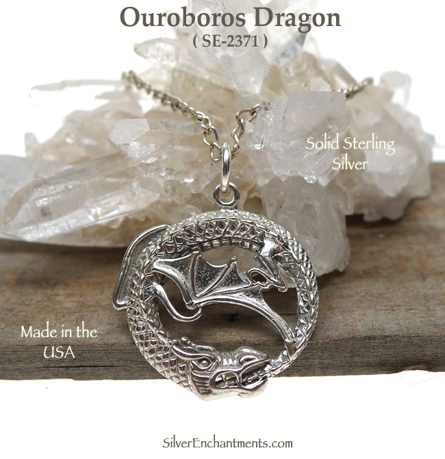Sterling Silver Ouroboros Pendant Dragon Ouroboros