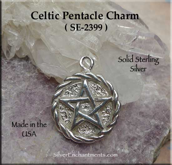 Sterling Silver Celtic Pentacle Charm-Pendant with Braided Border