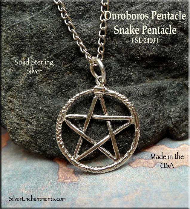 Sterling Silver Ouroboros Pentacle Charm Snake Pentacle