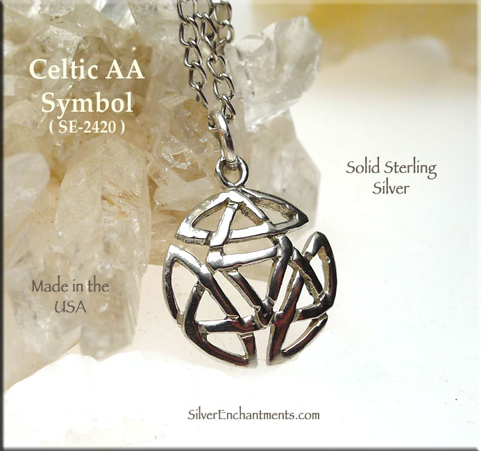 Sterling Silver Celtic Alcoholics Anonymous Necklace Recovery Jewelry