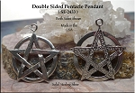 Sterling Silver Double Sided Pentacle Pendant, 25mm Pentagram Jewelry