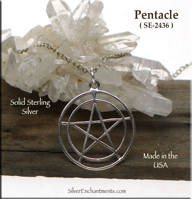 Sterling Silver Double Ringed Pentacle Pendant, Pagan Jewelry, 25mm