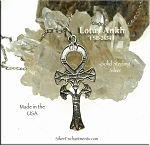 Sterling Silver Lotus Ankh Pendant, Egyptian Jewelry