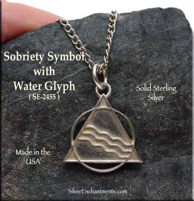 Sterling Silver Sobriety Pendant Recovery Aa Necklace With Glyph Of