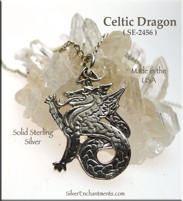 Sterling Silver Celtic Dragon Pendant Celtic Dragon