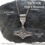 Bailed Sterling Silver MJÖLNIR Thor's Hammer Pendant with Celtic Knotwork