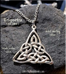 Sterling Silver Triquetra Necklace, Trinity Knot Pendant, 30x28mm Triquetra Celtic Jewelry