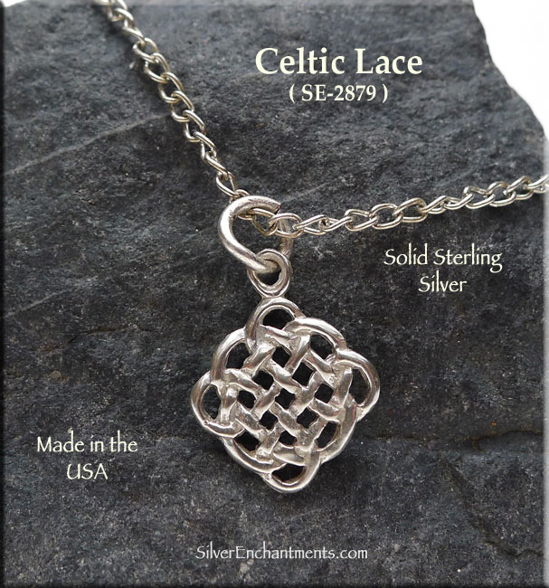Sterling Silver Celtic Lace Charm, Celtic Knot