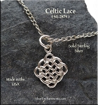 Sterling Silver Celtic Lace Charm, Celtic Knot Necklace
