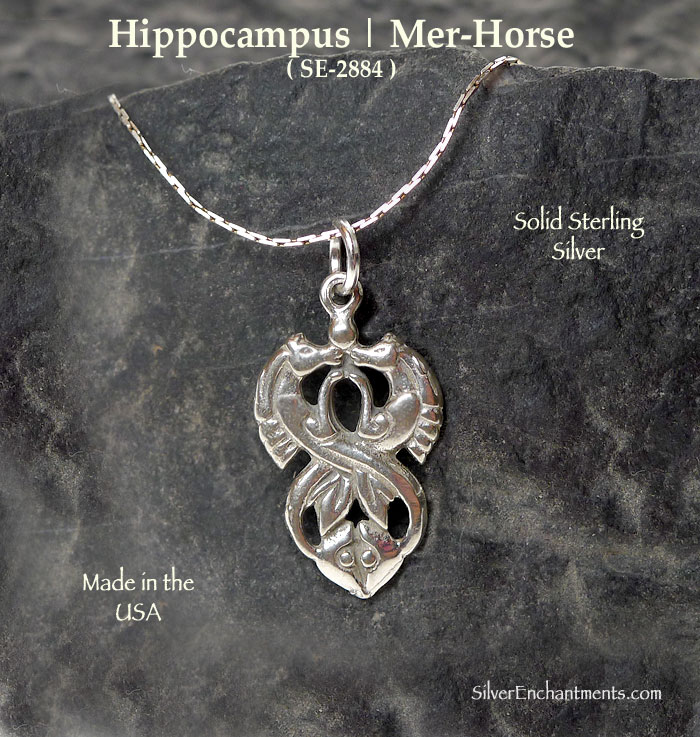 Sterling silver hippocampus pendant double sided celtic mer horse aloadofball Images