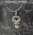 Sterling Silver Hippocampus Pendant, Double Sided Celtic Hippocamp Pendant, Fantasy Mer-Horse Necklace