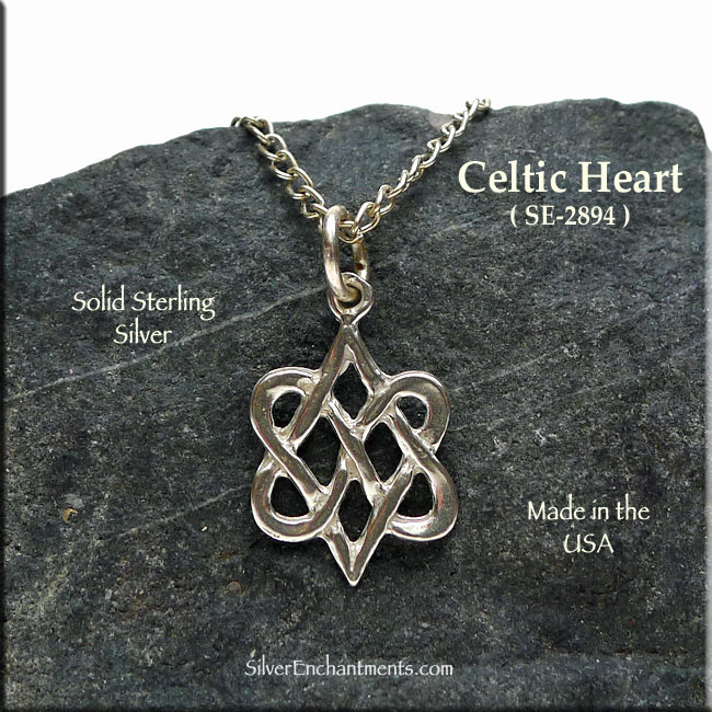 Sterling Silver Celtic Heart Charm, Celtic Hearts Necklace
