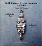 Sterling Silver Earth Goddess Jewelry Connector, Venus of Willendorf Jewelry Findings (1)
