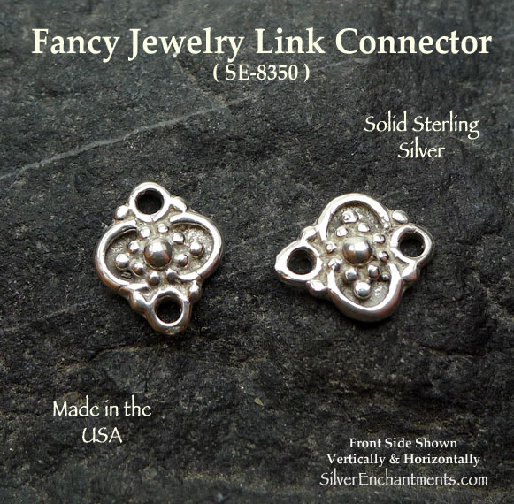 Sterling Silver Fancy Jewelry Link, 11x9mm