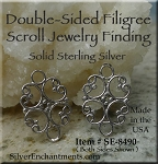 Sterling Silver Double-Sided Filigree Scroll Component - Both Sides Shown