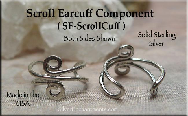 Sterling Silver Scroll Ear Cuff Jewelry Findings Earcuff