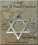 Sterling Silver Large Star of David Pendant, 39x28mm Magen Star Jewelry