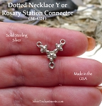 Sterling Silver Dotted Necklace Y or Rosary Station Connector, 15mm