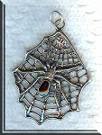 Sterling Silver Large Spider in Web Pendant, Enameled, 40x29mm